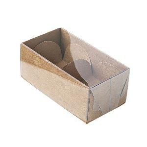 Caixa 2 Doces com Tampa Transparente Nº 2 (8,5cm x 4cm x 3,5cm) Kraft 10 unidades Assk Rizzo Embalagens