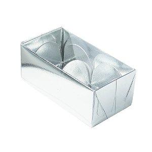 Caixa 2 Doces com Tampa Transparente Nº 2 (8,5cm x 4cm x 3,5cm) Prata 10 unidades Assk Rizzo Embalagens