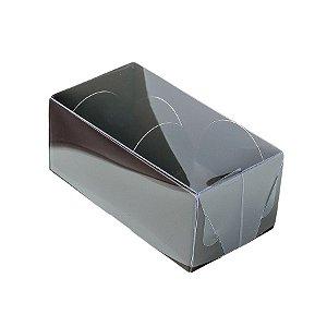 Caixa 2 Doces com Tampa Transparente Nº 2 (8,5cm x 4cm x 4cm) Marrom 10 unidades Assk Rizzo Embalagens