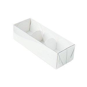 Caixa 3 Doces com Tampa Transparente Nº 3 (12cm x 4,5cm x 3,5cm) Branca 10 unidades Assk Rizzo Embalagens