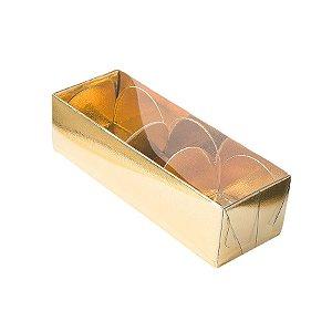 Caixa 3 Doces com Tampa Transparente Nº 3 (12cm x 4,5cm x 3,5cm) Dourada 10 unidades Assk Rizzo Embalagens