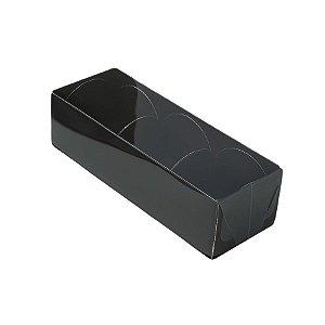 Caixa 3 Doces com Tampa Transparente Nº 3 (12cm x 4,5cm x 3,5cm) Preta 10 unidades Assk Rizzo Embalagens
