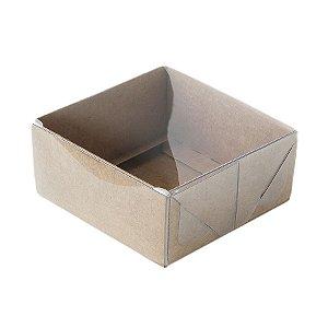 Caixa 4 Doces com Tampa Transparente Nº 4 (8cm x 8cm x 5cm) Kraft 10 unidades Assk Rizzo Embalagens