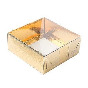 Caixa 4 Doces com Tampa Transparente Nº 4 (8cm x 8cm x 5cm) Dourada 10 unidades Assk Rizzo Embalagens
