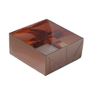 Caixa 4 Doces com Tampa Transparente Nº 4 (8cm x 8cm x 5cm) Bronze 10 unidades Assk Rizzo Embalagens