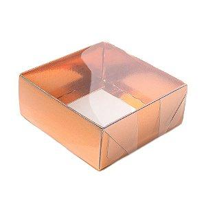 Caixa 4 Doces com Tampa Transparente Nº 4 (8cm x 8cm x 5cm) Cobre 10 unidades Assk Rizzo Embalagens