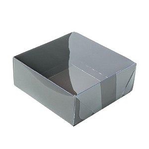 Caixa 4 Doces com Tampa Transparente Nº 4 (8cm x 8cm x 3,5cm) Marrom 10 unidades Assk Rizzo Embalagens