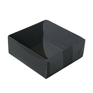 Caixa 4 Doces com Tampa Transparente Nº 4 (8cm x 8cm x 3,5cm) Preta 10 unidades Assk Rizzo Embalagens