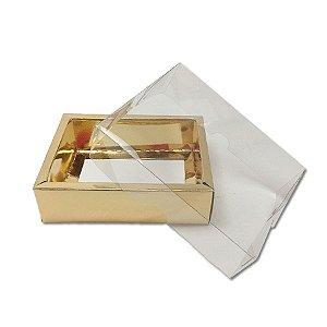Caixa com Tampa Transparente PVC Nº 5 (9cm x 12cm x 4cm) Dourada 10 unidades Assk Rizzo Embalagens