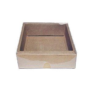 Caixa com Tampa Transparente Nº 6 (13cm x 13cm x 4cm) Kraft 10 unidades Assk Rizzo Embalagens