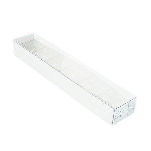 Caixa 6 Doces com Berço Tampa Transparente Nº 4 (23cm x 4cm x 3cm) Branca 10 unidades Assk Rizzo Embalagens
