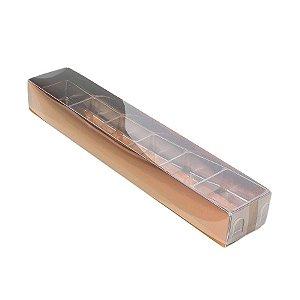 Caixa 6 Doces com Berço Tampa Transparente Nº 4 (23cm x 4cm x 3cm) Bronze 10 unidades Assk Rizzo Embalagens