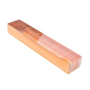 Caixa 6 Doces com Berço Tampa Transparente Nº 4 (23cm x 4cm x 3cm) Cobre 10 unidades Assk Rizzo Embalagens