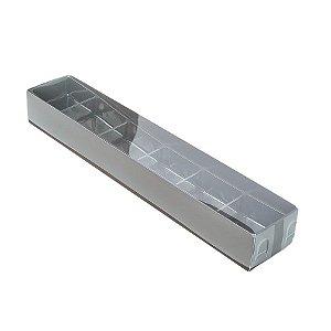 Caixa 6 Doces com Berço Tampa Transparente Nº 4 (23cm x 4cm x 3cm) Marrom 10 unidades Assk Rizzo Embalagens