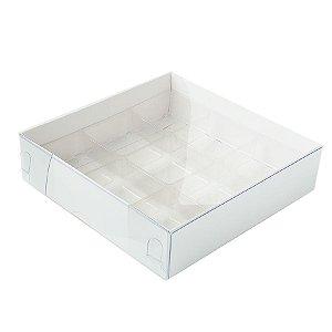 Caixa 9 Doces com Berço Tampa Transparente Nº 6 (11,5cm x 11,5cm x 3cm) Branca 10 unidades Assk Rizzo Embalagens