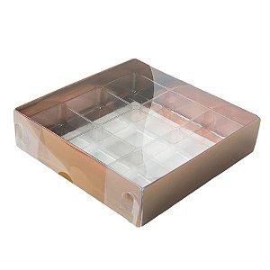 Caixa 9 Doces com Berço Tampa Transparente Nº 6 (11,5cm x 11,5cm x 3cm) Bronze 10 unidades Assk Rizzo Embalagens