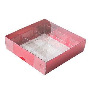 Caixa 9 Doces com Berço Tampa Transparente Nº 6 (11,5cm x 11,5cm x 3cm) Vermelha 10 unidades Assk Rizzo Embalagens