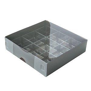 Caixa 9 Doces com Berço Tampa Transparente Nº 6 (11,5cm x 11,5cm x 3cm) Marrom 10 unidades Assk Rizzo Embalagens