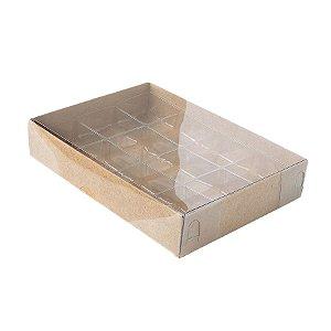 Caixa 12 Doces com Berço Tampa Transparente Nº 2 (15,5cm x 11,5cm x 3cm) Kraft 10 unidades Assk Rizzo Embalagens