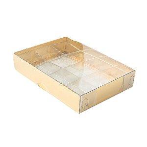 Caixa 12 Doces com Berço Tampa Transparente Nº 2 (15,5cm x 11,5cm x 3cm) Dourada 10 unidades Assk Rizzo Embalagens