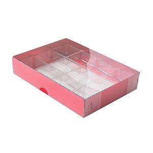 Caixa 12 Doces com Berço Tampa Transparente Nº 2 (15,5cm x 11,5cm x 3cm) Vermelha 10 unidades Assk Rizzo Embalagens