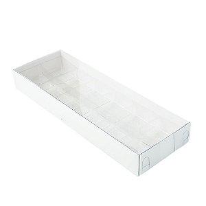 Caixa 12 Doces com Berço Tampa Transparente Nº 3 (23cm x 8,5cm x 3cm) Branca 10 unidades Assk Rizzo Embalagens