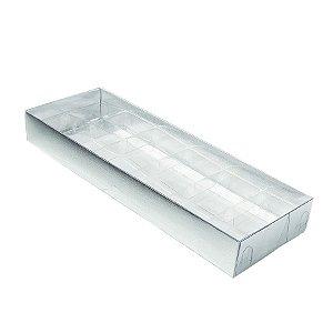 Caixa 12 Doces com Berço Tampa Transparente Nº 3 (23cm x 8,5cm x 3cm) Prata 10 unidades Assk Rizzo Embalagens