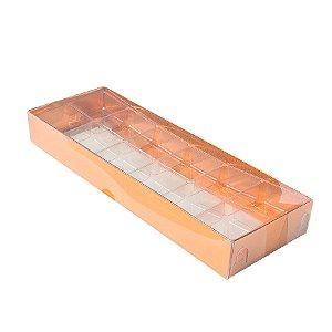 Caixa 12 Doces com Berço Tampa Transparente Nº 3 (23cm x 8,5cm x 3cm) Cobre 10 unidades Assk Rizzo Embalagens