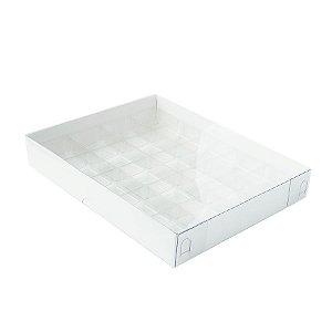 Caixa 20 Doces com Berço Tampa Transparente Nº 1 (19,5cm x 15,5cm x 3cm) Branca 10 unidades Assk Rizzo Embalagens