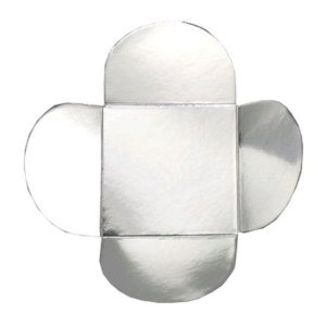 Forminha para Doces 4 Pétalas (3,5cm x 3,5cm x 2,5cm) Prata 50 unidades Assk Rizzo Embalagens