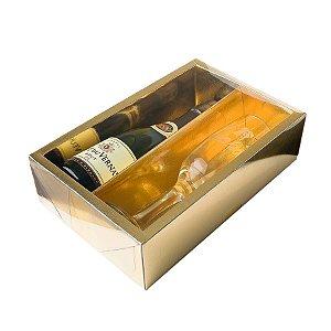 Caixa Mini Champanhe e Taça (20,5cm x 13cm x 6cm) Dourada 5 unidades Assk Rizzo Embalagens