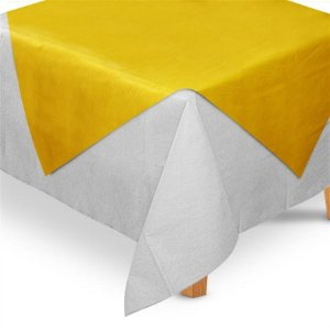 Toalha de Mesa Quadrada Cobre Mancha em TNT (70cm x 70xm) Amarela 5 unidades - Best Fest - Rizzo Embalagens