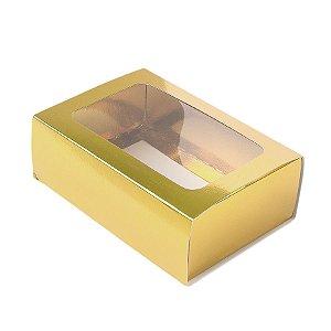 Caixa Gaveta com Visor Nº2 (8cm x 12cm x 4cm) Dourada 10 unidades Assk Rizzo Embalagens