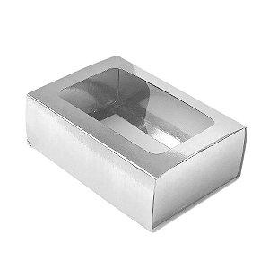 Caixa Gaveta com Visor Nº2 (8cm x 12cm x 4cm) Prata 10 unidades Assk Rizzo Embalagens