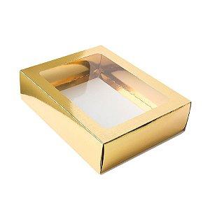 Caixa Gaveta com Visor Nº3 (12cm x 16cm x 4cm) Dourada 10 unidades Assk Rizzo Embalagens