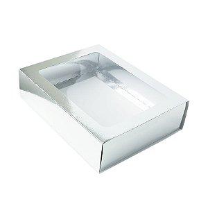 Caixa Gaveta com Visor Nº3 (12cm x 16cm x 4cm) Prata 10 unidades Assk Rizzo Embalagens