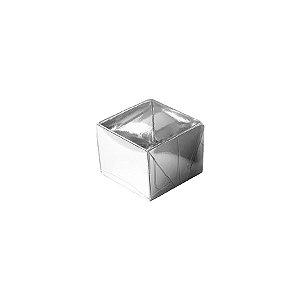 Caixa 1 Doce com Tampa Transparente Nº 10 (4,5cm x 4,5cm x 3,5cm) Prata 10 unidades Assk Rizzo Embalagens