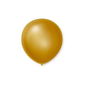 Balão de Festa Latex 5'' 13cm - Cintilante Ouro - 50 unidades - São Roque - Rizzo Festas