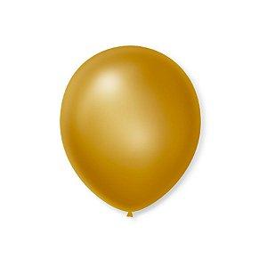 Balão de Festa Latex 7'' 18cm - Cintilante Ouro - 50 unidades - São Roque - Rizzo Festas