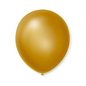 Balão de Festa Latex 9'' 23cm - Cintilante Ouro - 50 unidades - São Roque - Rizzo Festas