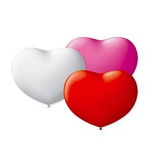 Balão de Coração em Latex 6'' 15cm - Sortido - 50 unidades - São Roque - Rizzo Festas