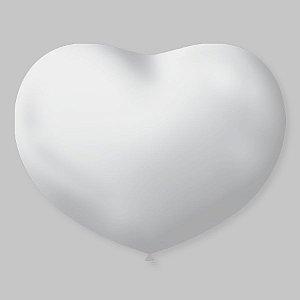 Balão de Coração em Latex 11'' 28cm - Transparente - 20 unidades - São Roque - Rizzo Festas