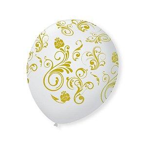 Balão de Festa Branco Arabesco Dourado 9'' 23cm - 25 unidades - São Roque - Rizzo Festas