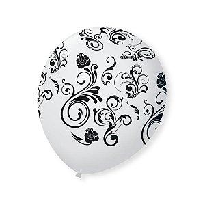 Balão de Festa Branco Arabesco Preto 9'' 23cm - 25 unidades - São Roque - Rizzo Festas