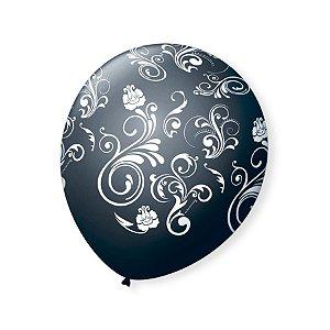 Balão de Festa Preto Arabesco Branco 9'' 23cm - 25 unidades - São Roque - Rizzo Festas
