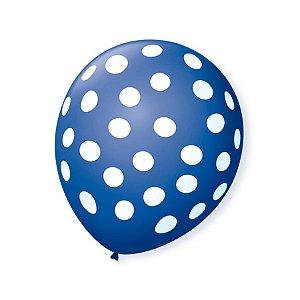 Balão de Festa Bolinhas Azul Cobalto Poá Branco 9'' 23cm - 25 unidades - São Roque - Rizzo Festas