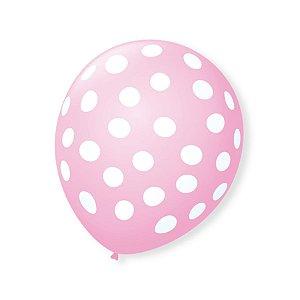 Balão de Festa Bolinhas Rosa Baby Poá Branco 9'' 23cm - 25 unidades - São Roque - Rizzo Festas