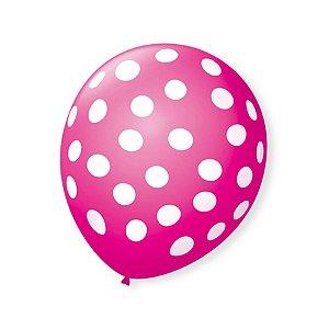 Balão de Festa Bolinhas Rosa Shock Poá Branco 9'' 23cm - 25 unidades - São Roque - Rizzo Festas