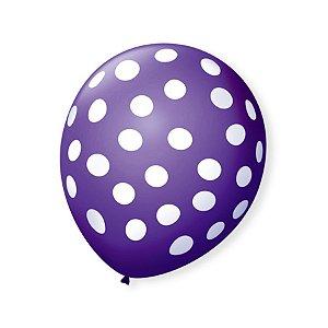 Balão de Festa Bolinhas Roxo Poá Branco 9'' 23cm - 25 unidades - São Roque - Rizzo Festas