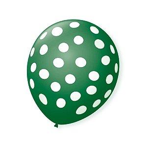 Balão de Festa Bolinhas Verde Poá Branco 9'' 23cm - 25 unidades - São Roque - Rizzo Festas